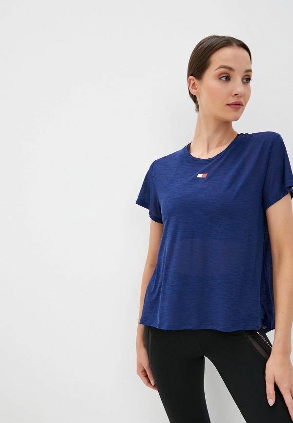 женская спортивные футболка tommy sport, синяя