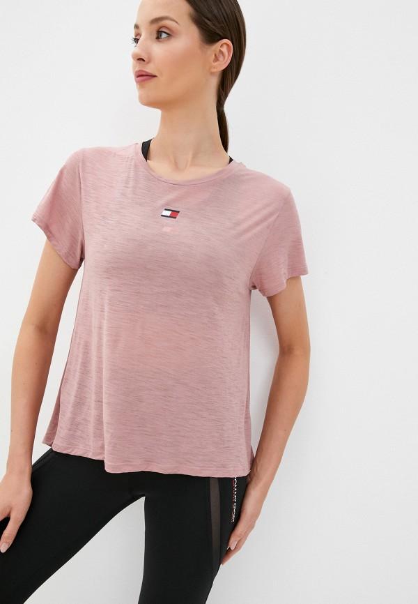 женская спортивные футболка tommy sport, розовая