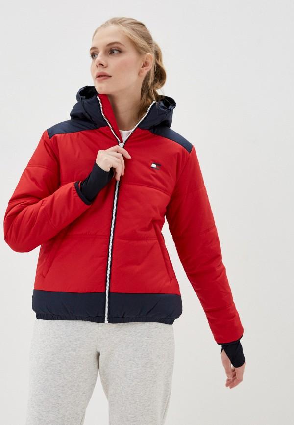 женская куртка tommy sport, красная