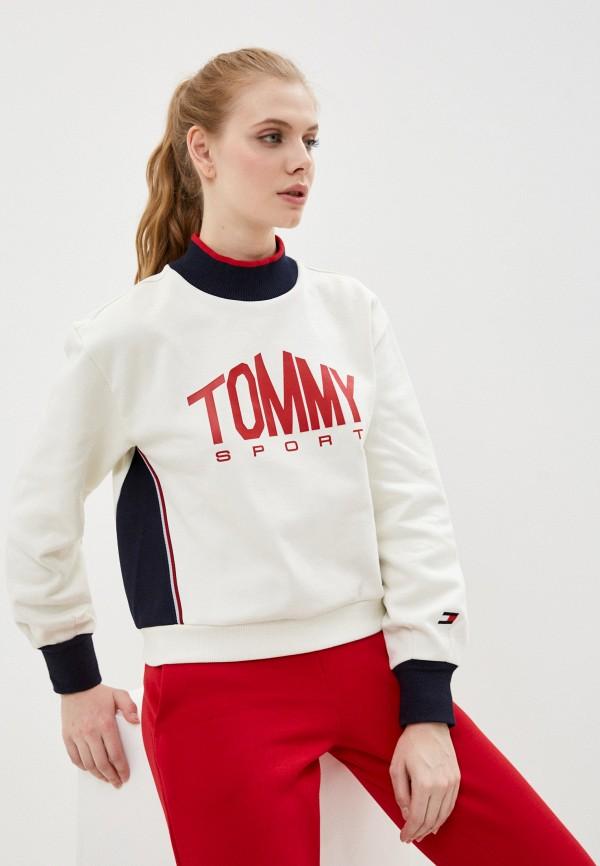 женский свитшот tommy sport, белый