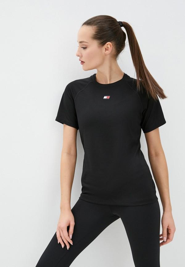женская спортивные футболка tommy sport, черная