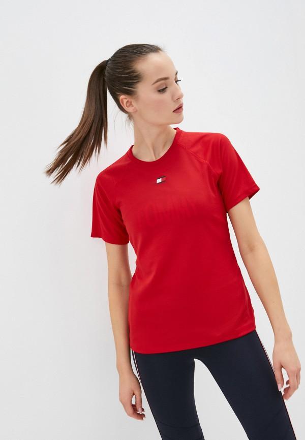 женская спортивные футболка tommy sport, красная