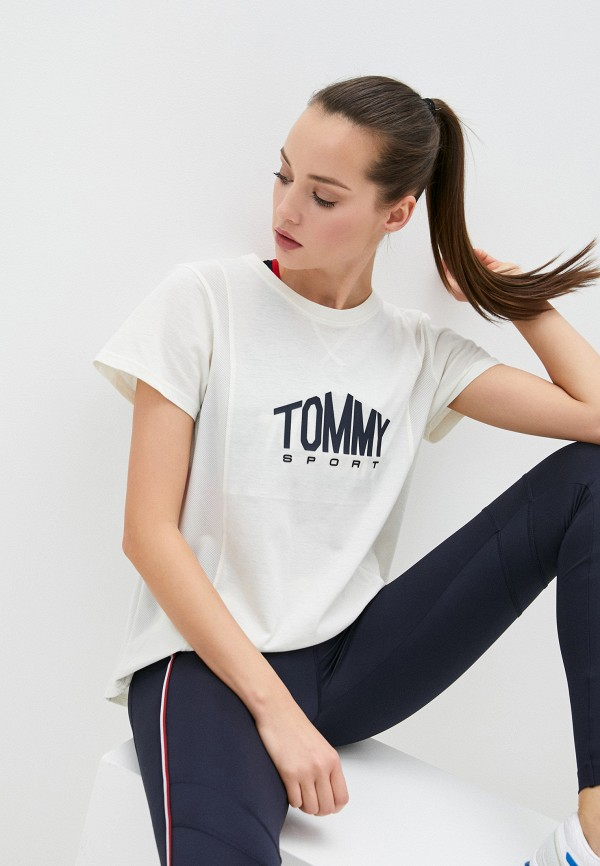 женская спортивные футболка tommy sport, белая