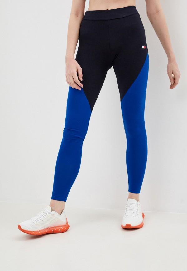 женские спортивные леггинсы tommy sport, синие