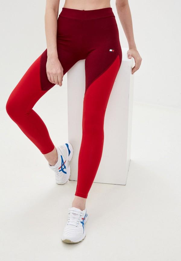 женские спортивные леггинсы tommy sport, красные