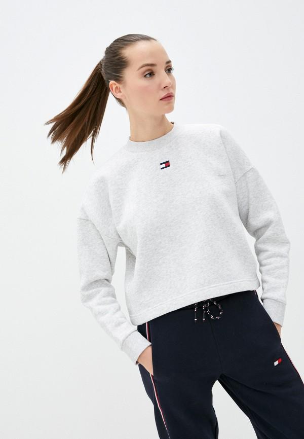 женский свитшот tommy sport, серый