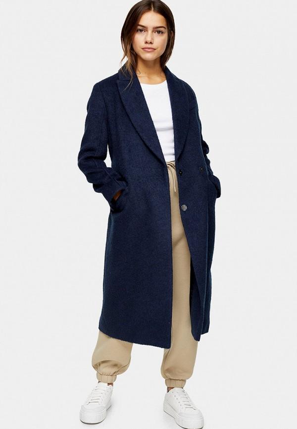 женское пальто topshop petite, синее