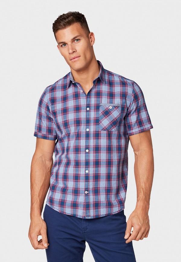 мужская рубашка с коротким рукавом tom tailor, фиолетовая