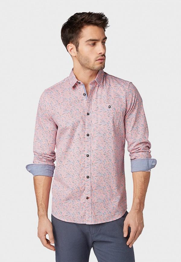 мужская рубашка с длинным рукавом tom tailor, розовая