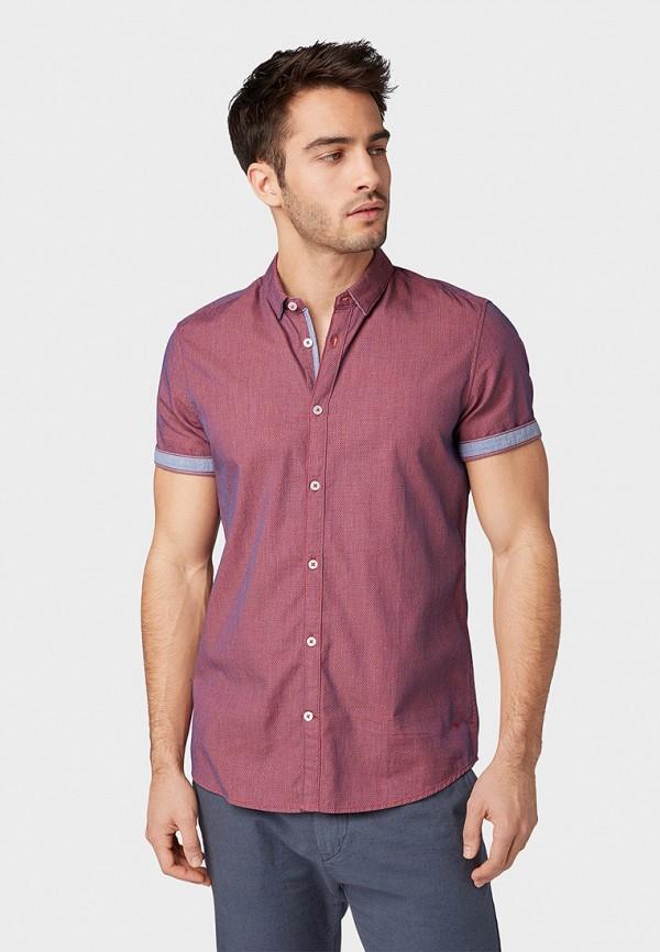 мужская рубашка с коротким рукавом tom tailor, бордовая