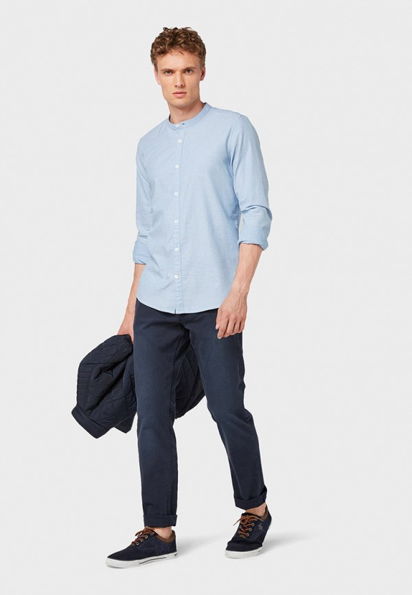 Фото 2 - мужскую рубашку Tom Tailor голубого цвета