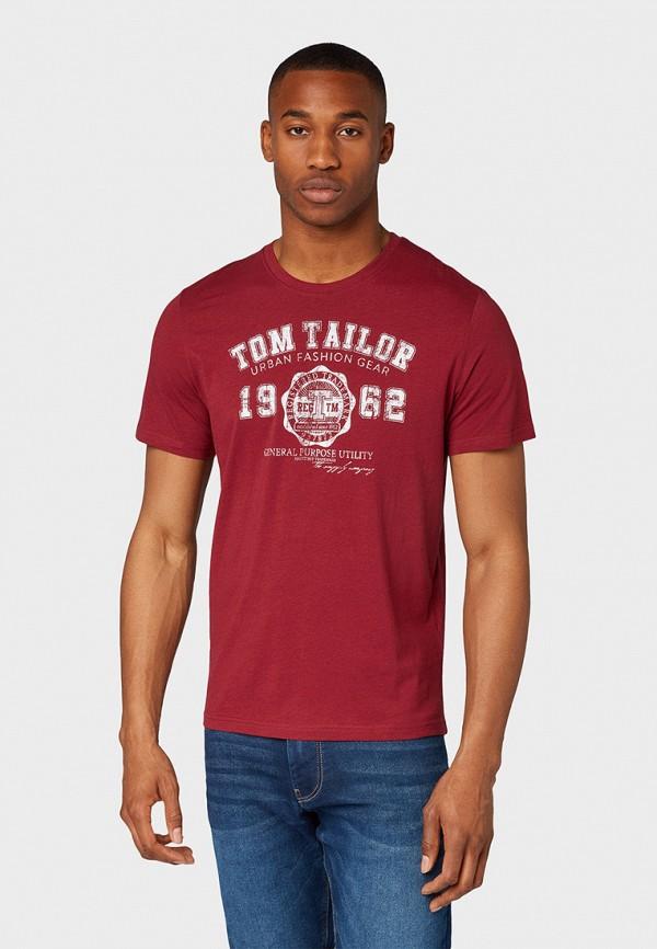 мужская футболка tom tailor, бордовая