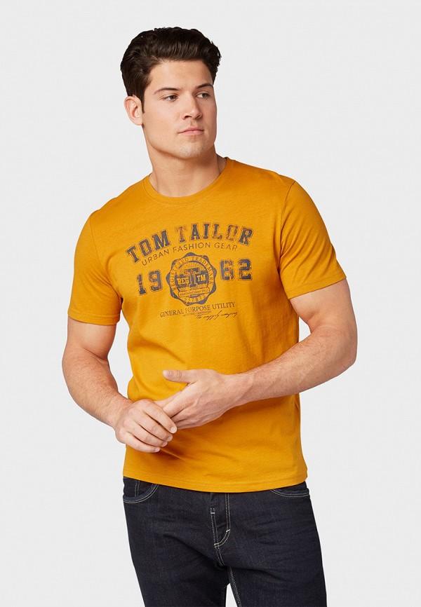 мужская футболка tom tailor, желтая