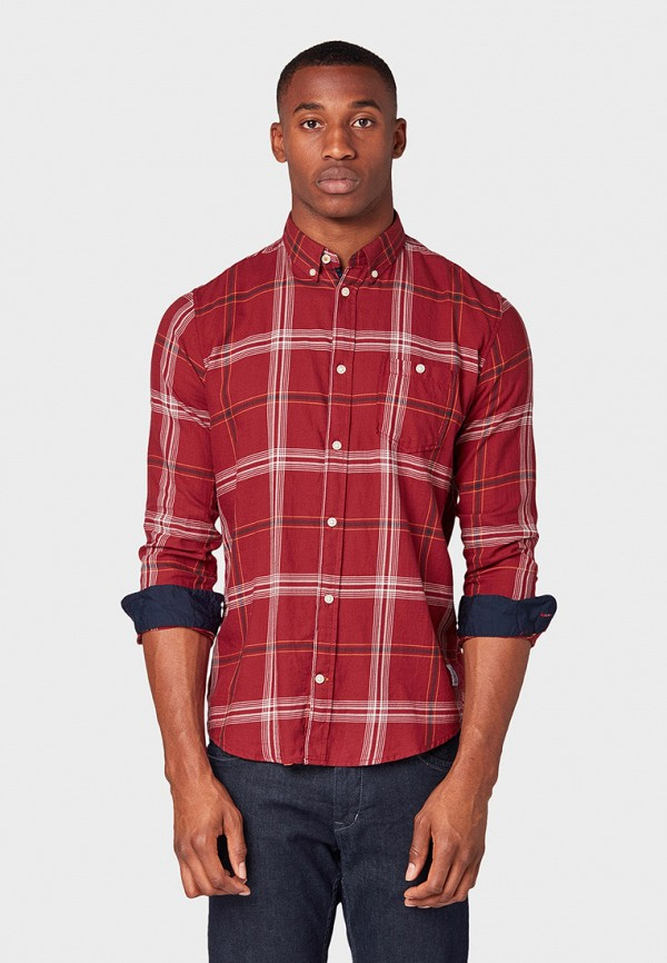 мужская рубашка tom tailor, бордовая