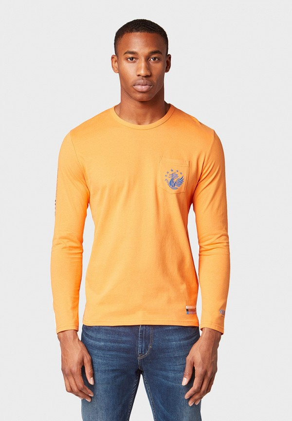 мужской лонгслив tom tailor, оранжевый