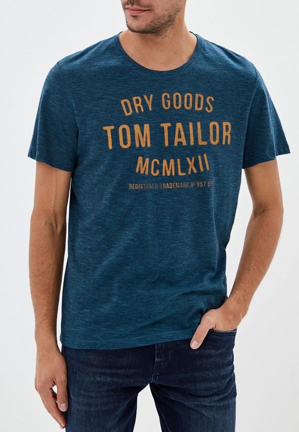 мужская футболка tom tailor, зеленая