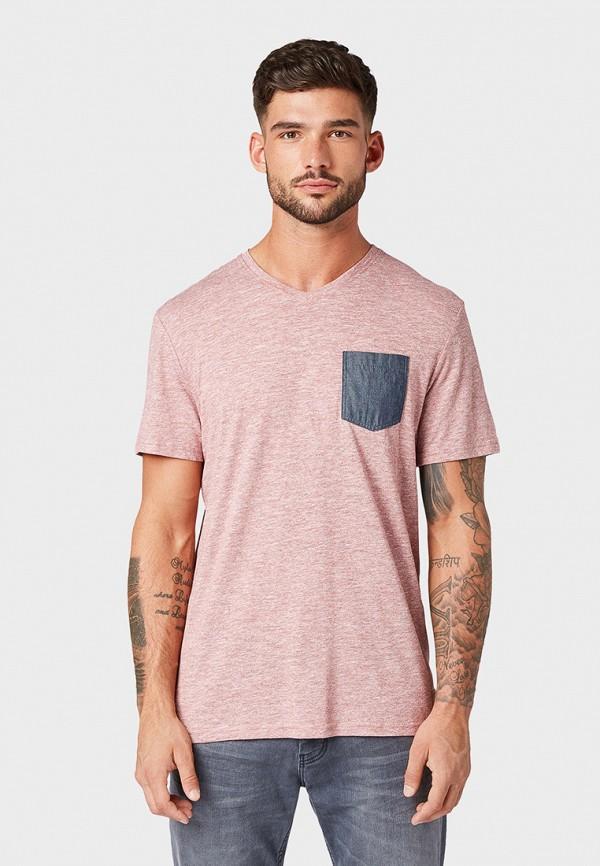 мужская футболка с коротким рукавом tom tailor, розовая
