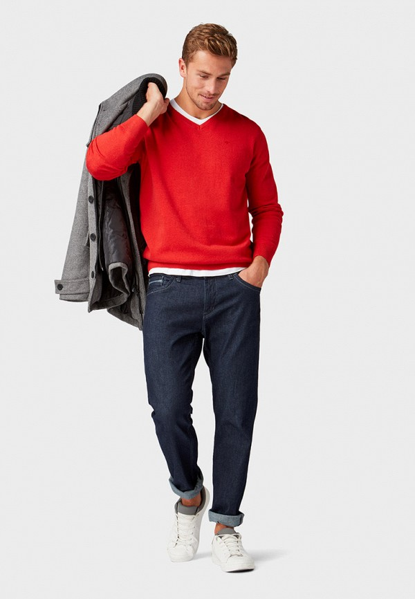 Фото 2 - мужской пуловер Tom Tailor красного цвета