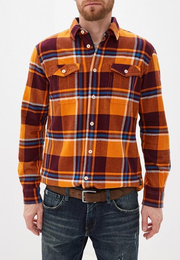 мужская рубашка с длинным рукавом tom tailor, оранжевая
