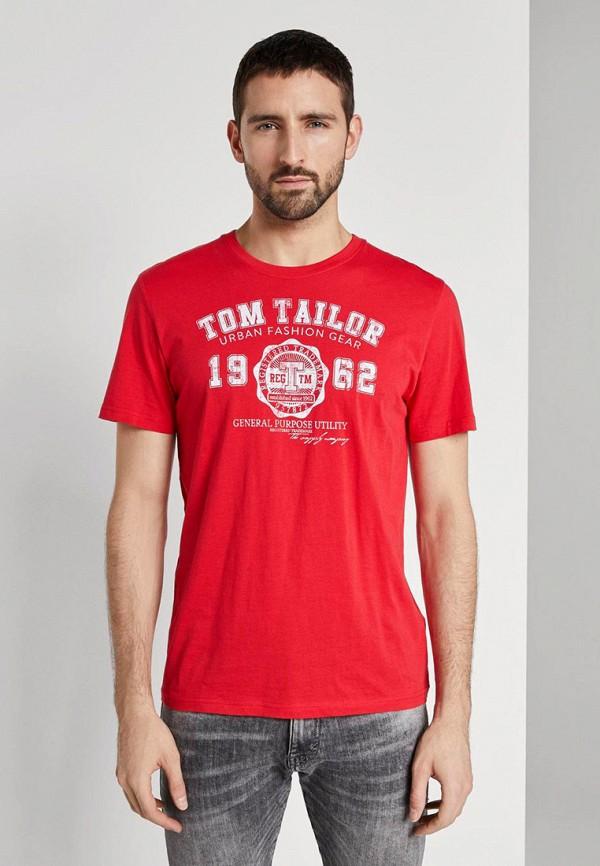 мужская футболка с коротким рукавом tom tailor, красная