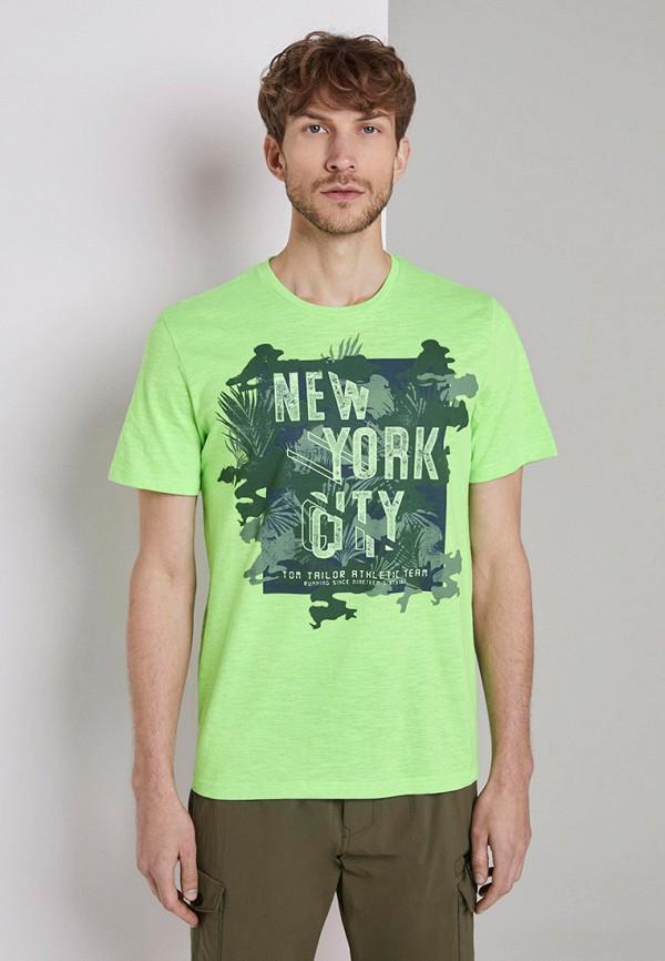мужская футболка с коротким рукавом tom tailor, зеленая