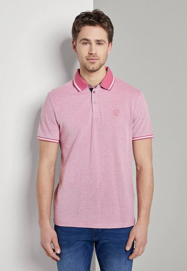 мужское поло tom tailor, розовое