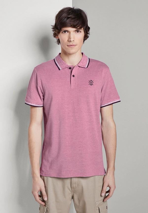 мужское поло с коротким рукавом tom tailor, розовое