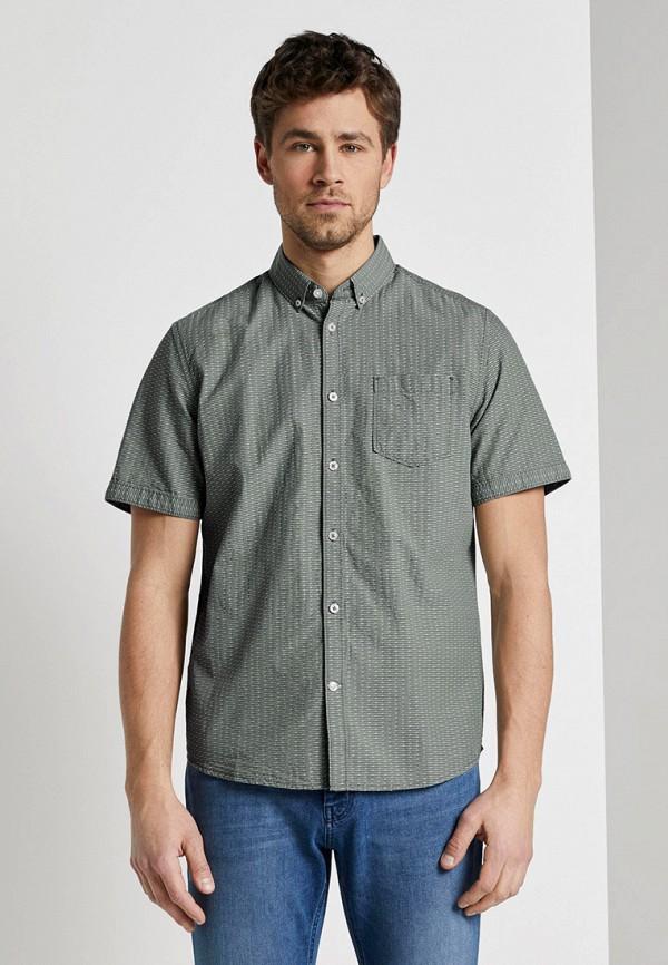 мужская рубашка с коротким рукавом tom tailor, зеленая
