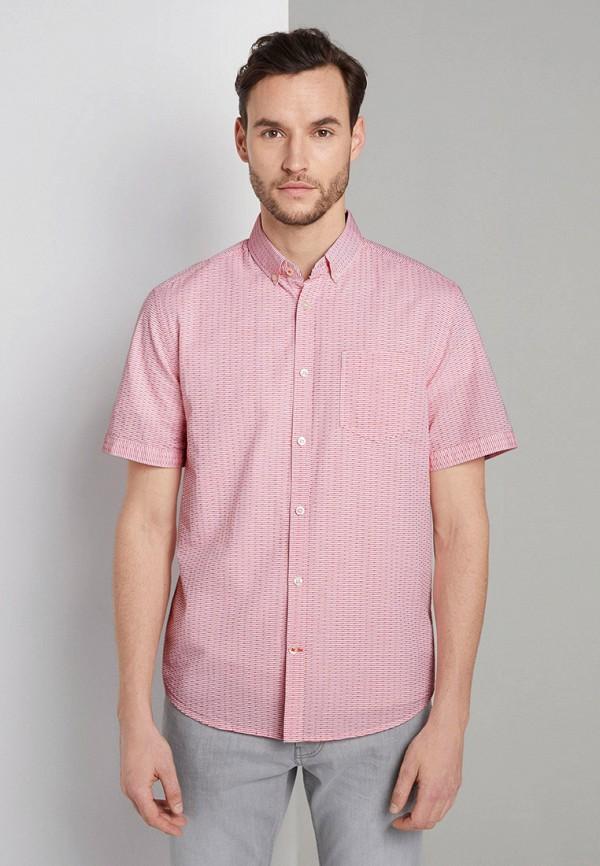 мужская рубашка с коротким рукавом tom tailor, розовая