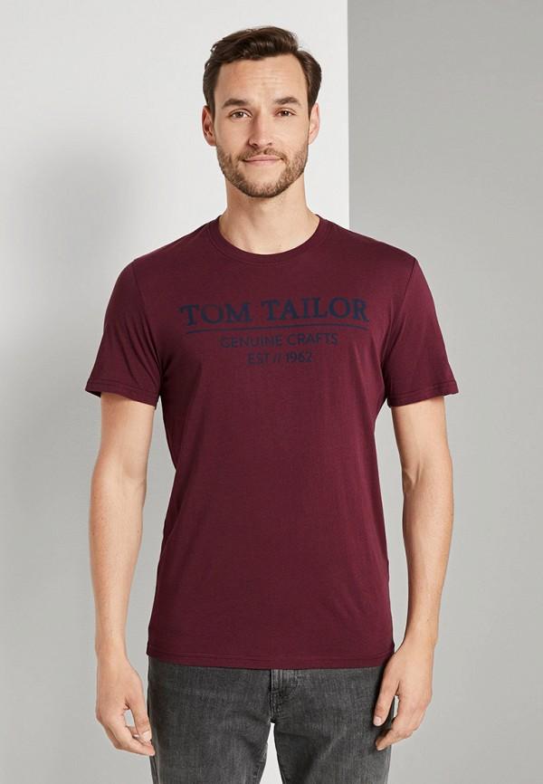 мужская футболка с коротким рукавом tom tailor, бордовая