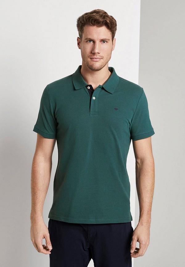 мужское поло tom tailor, зеленое