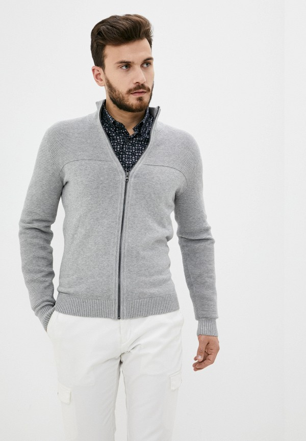 мужской кардиган tom tailor, серый