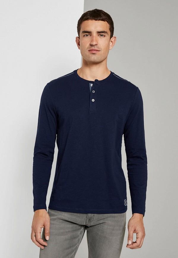 мужское поло с длинным рукавом tom tailor, синее