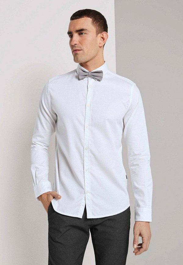 мужская рубашка с длинным рукавом tom tailor, белая