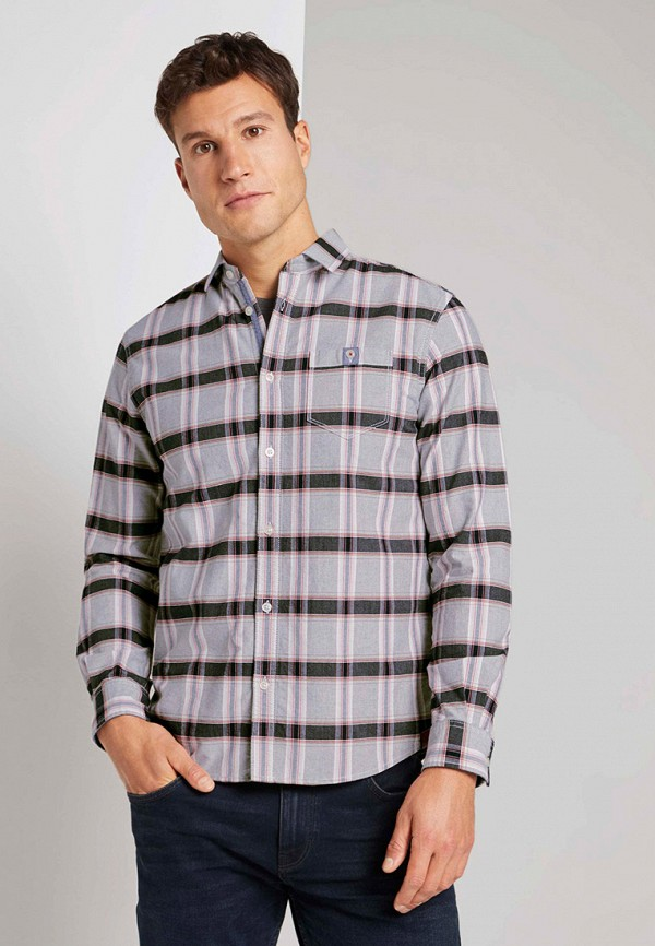 мужская рубашка с длинным рукавом tom tailor, фиолетовая