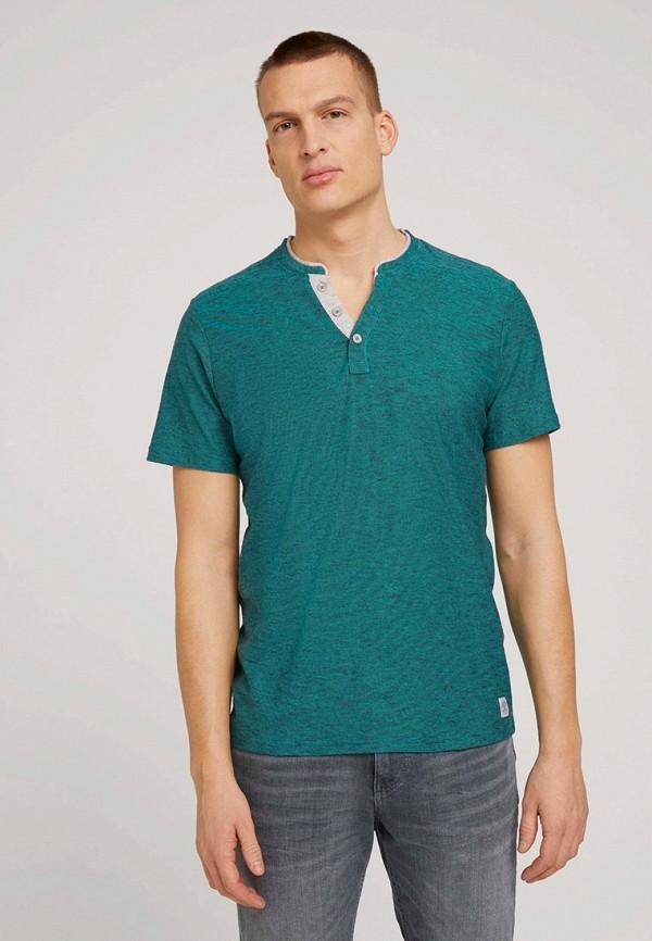 мужская футболка с коротким рукавом tom tailor, бирюзовая