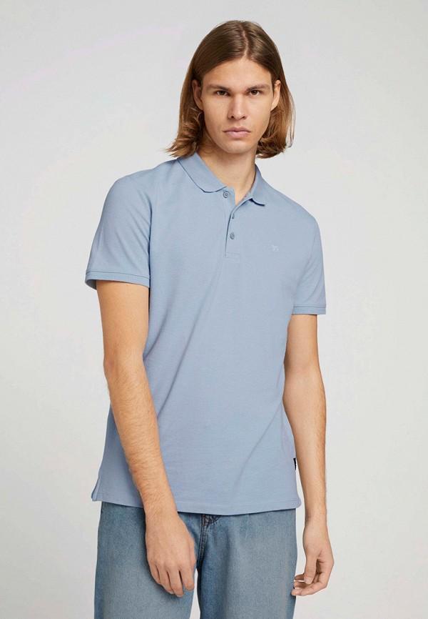 мужское поло с коротким рукавом tom tailor, голубое