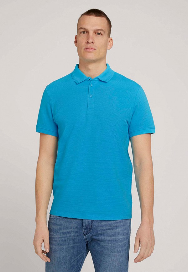 мужское поло tom tailor, голубое