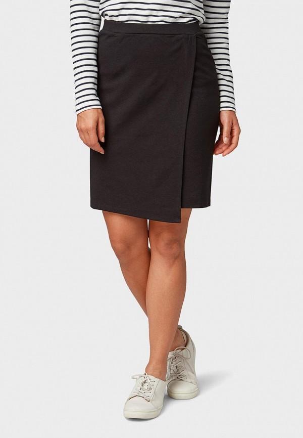 женская прямые юбка tom tailor, черная