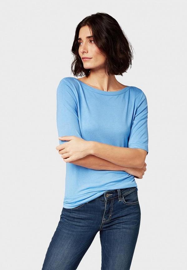 женская футболка tom tailor, голубая