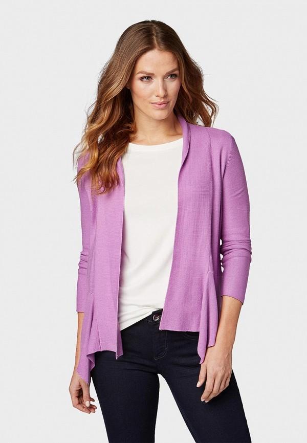 женский кардиган tom tailor, фиолетовый