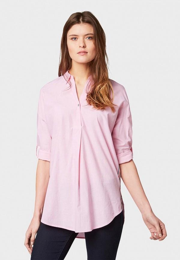 женская рубашка с длинным рукавом tom tailor, розовая