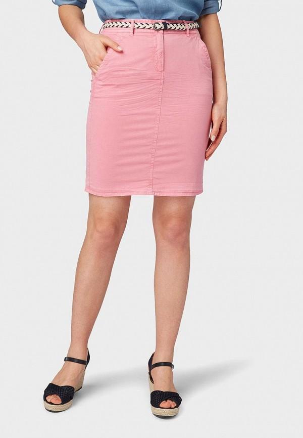 женская зауженные юбка tom tailor, розовая