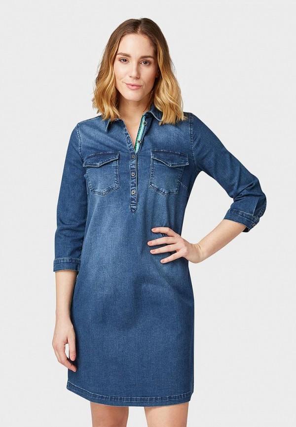 женское джинсовые платье tom tailor, синее