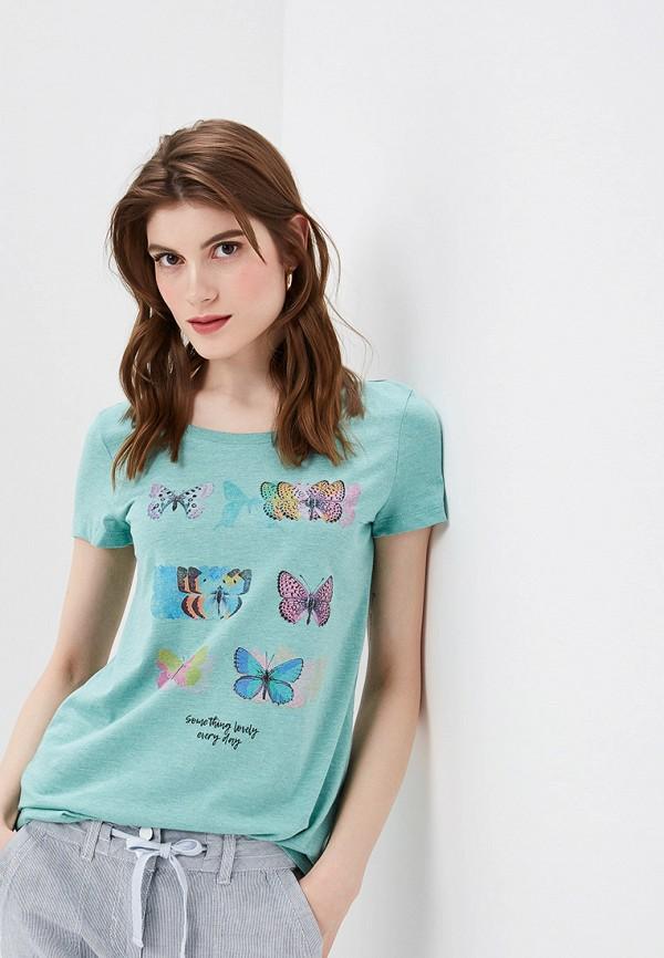 женская футболка tom tailor, бирюзовая