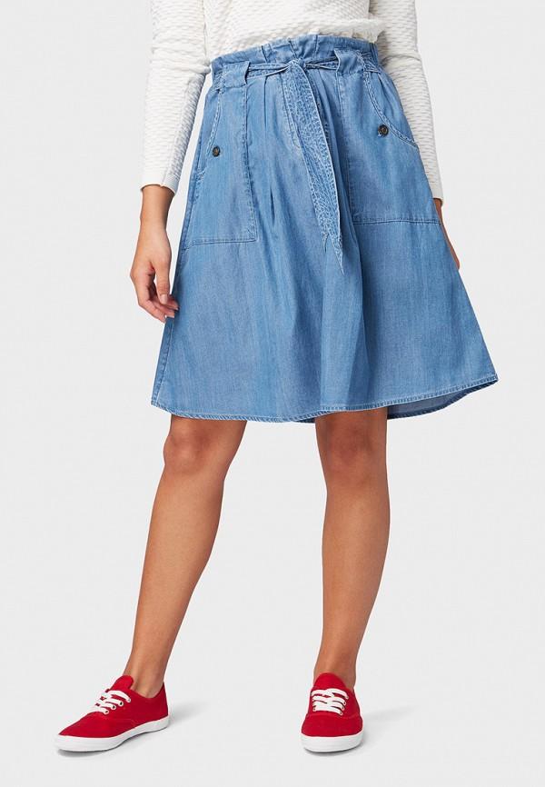 женская юбка tom tailor, голубая