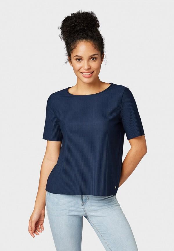 Фото - женскую футболку Tom Tailor Denim синего цвета