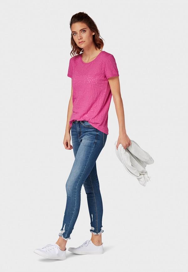 Фото 2 - женскую футболку Tom Tailor Denim розового цвета