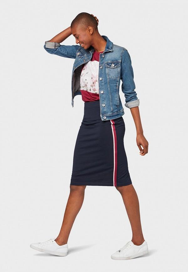 Фото 2 - Женскую юбку Tom Tailor синего цвета