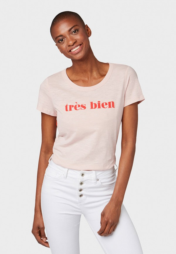 Фото - женскую футболку Tom Tailor розового цвета